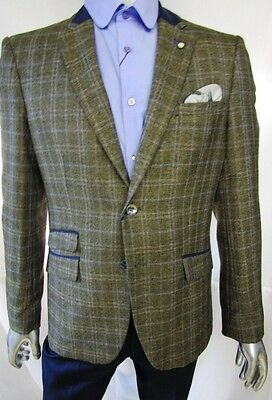 Vintage Mens Designer Cavani Tailored Fit Tweed Blazer Jacket - Tan Brown & Grey