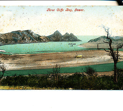GLAMORGAN - 1906 Postcard of Three Cliffs Bay, Gower, Swansea, Wales
