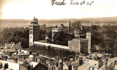 GLAMORGANSHIRE - Unusually early 1905 Aerial RP postcard of Cardiff Castle