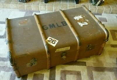 Large vintage steamer trunk, storage chest, blanket box, coffee table, cabin box