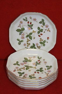 WEDGWOOD ~ WILD STRAWBERRY ~ SMALL FLAN DISHES x 6