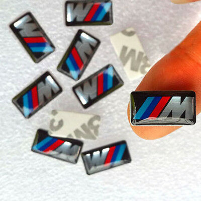 10 x  ADESIVI STICKERS CERCHI 3D BMW M power style M3 M5 M6 17x 9mm qualita AAA