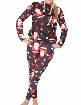 New Kids Girls Santa Star Printed Christmas 2 Piece Lounge Set Joggers Tracksuit