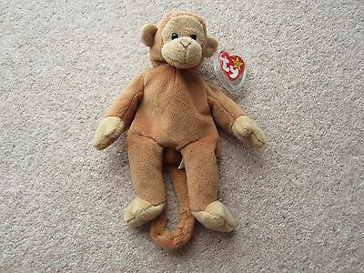 *RARE* Ty Beanie BONGO the Monkey (1995) WITH BROWN TAILAND PVC PELLETS