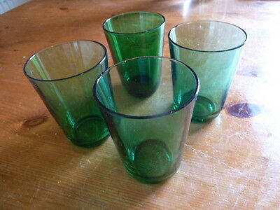 """10145) 4 x green drinking (?juice) glasses 1970s made in France 3.5"""" tall approx"""