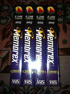 4 X New Blank Memorex E240 Vhs Tapes