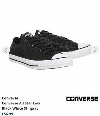 New Black Stingray Converse All Star Low Ladies Trainers . Size Uk 4