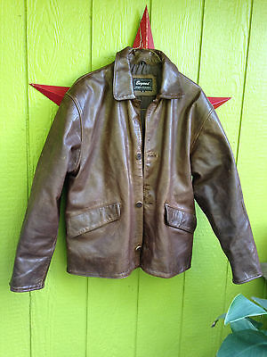 Stunning Vintage Brown Leather Bomber/Flight//Moto Style Jacket Size: M/L