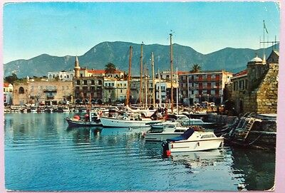 Cyprus postcard: Kyrenia Harbour, before 1974, posted.