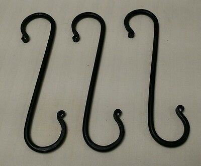 "Wrough Iron Black 7 1/4"" S Hook lot of 3"