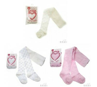 White Pink Cream Baby Girl Silky Tights Infant Lattice Heart Christening Wedding