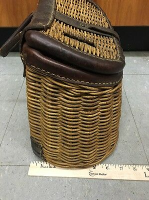 Antique Fishing Creel Leather Wicker Basket Fly Fish Old Vintage Fishermans Trap