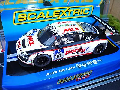 C3232 Brand New Boxed Scalextric Audi R8 Lms Car With Lights & Dpr