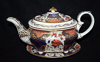 Royal Crown Derby - Antique Imari Boat Shaped Teapot & Stand - c1800