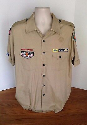 Boy Scouts of America BSA Khaki SS Shirt Men's Size XL Camping Leading Patches