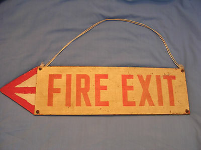 Vintage industrial tin fire exit sign