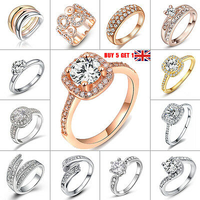 Womens Engagement Silver Jewelry 925Plated Sterling Wedding Diamond Crystal Rins