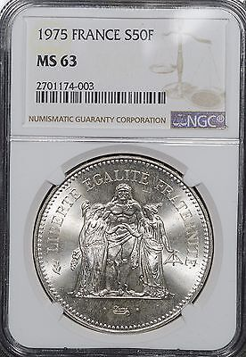 1973 France 50 Francs Silver, NGC MS63