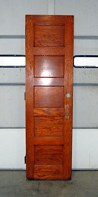 "Antique Oak 5 Panel Door 24"" x 84"" Schoolhouse Door, Architectural Salvage"