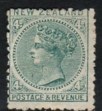 NZ SG199, CPD6a, 1888-1895 2nd Sideface, 4d Green, Perf 12 x 11.5 Hinged Mint