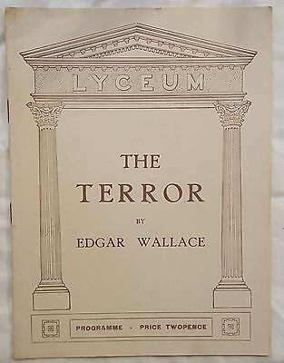Vintage LYCEUM Strand Theatre THE TERROR Edgar Wallace 1928 Programme D TERRY