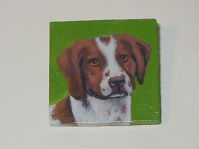 Brittany Spaniel, Original  Artist Signed, Hand Painted Jewelry Pin