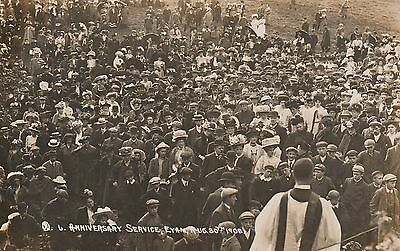 RP Postcard. Anniversary Service,EYAM.Posted with Eyam Thimble Postmark.