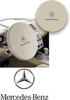 WHITE 100% Polyester MERCEDES BENZ MODERN LOGO Stretchable Steering Wheel Cover