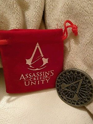 Assassins creed unity collectors coin and velvet bag. Loot crate exclusive.