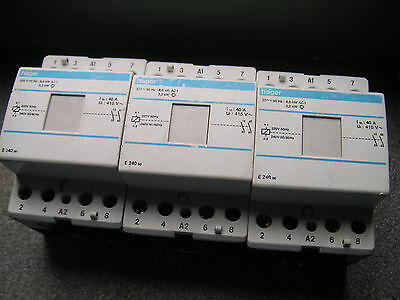 Hager Contactor  2 pole 40a 8.5kw AC1 240v Coil x 3