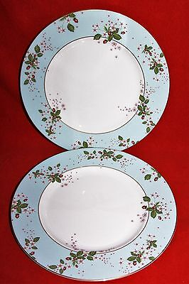 "WEDGWOOD ~ WILD STRAWBERRY BLOOM (BLUE)  ~ 10.8"" DINNER PLATES x 2"
