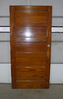 "Antique 5 Panel Oak Door 39"" x 84"" Original Schoolhouse Door, Vintage Salvage"