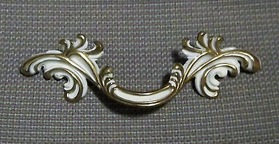 "Vintage Canada Brass Drawer Pull French Provincial 4 1/4"" Bore White Gold L@@K!!"