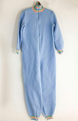 Vintage NWT Adult Blue One Piece Zip Front Pajamas Rainbow Cuffs Baby Play AB DL