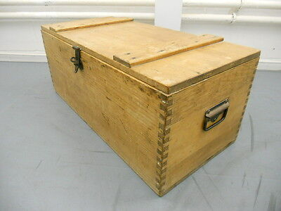 Vintage antique pine storage trunk box with hinged lid and fastener