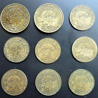 French Equatorial Africa Cameroon Coins x 9 25, 10 Francs 1958-1962