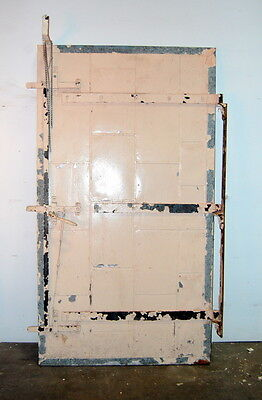 "Antique Galvanized Fire Rated Industrial Door, Vintage Original Salvage 49"" x 90"