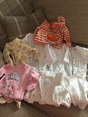 8 Newborn Baby Grows Inc 0-3mth Halloween And One Pink