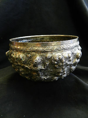 Antique Siam Silver Bowl Thailand Dancing Girls 1900s Hung 75 W 222 Grams