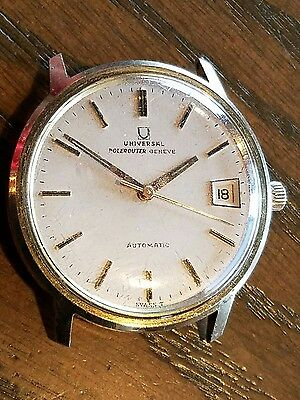 AW7 UNIVERSAL GENEVE POLEROUTER DATE MENS AUTOMATIC WATCH 10K GOLD FILLED 1960s