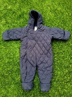 NEW Baby Gap Boys Girls Warm Navy Blue Quilted Snowsuit Bunting Size 3-6 months