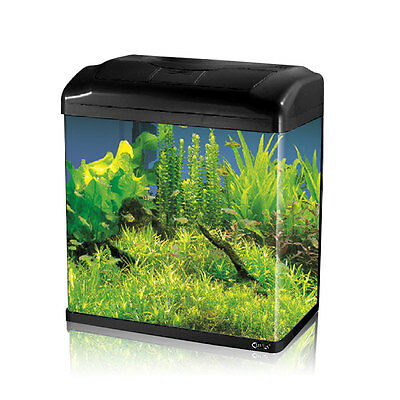 7.4L Mini Aquarium Fish GlassTank Fresh Water LED Light Filter Black
