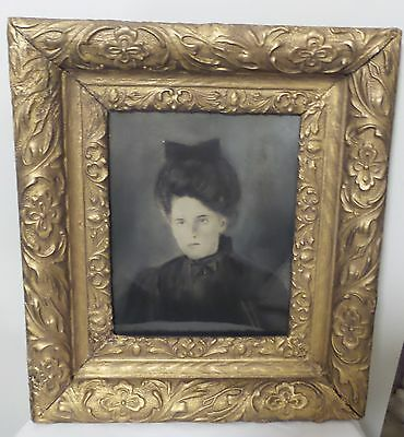 Antique Original Charcole Drawing Of Women Framed Under Glass In Gesso Frame