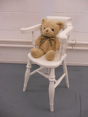 Victorian oak wooden children's chair with Captains Chair style painted