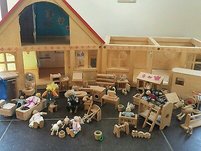 Elc wooden dolls house + furniture and animals