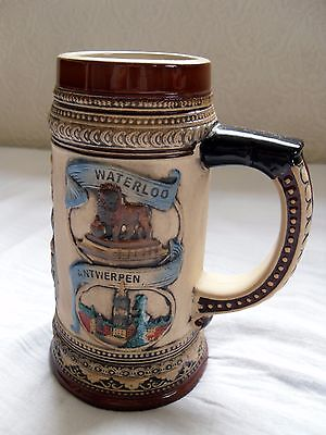 Ceramic Stein Souvenir of Belgium with Relief design