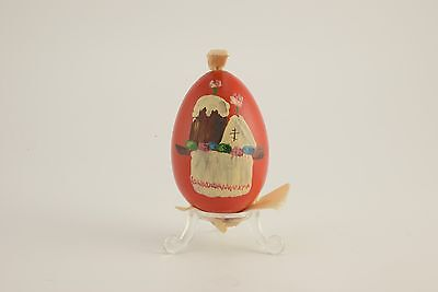 Antique Russian Red Painted Solid Wood XB Easter Egg