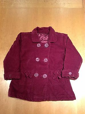 Girls burgundy quilted jacket with button fastening, age 12-18 months