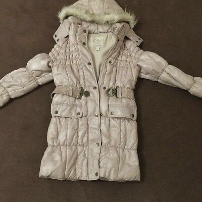 Next Girls Cream Puffer Coat size 9-10 years Stunning condition