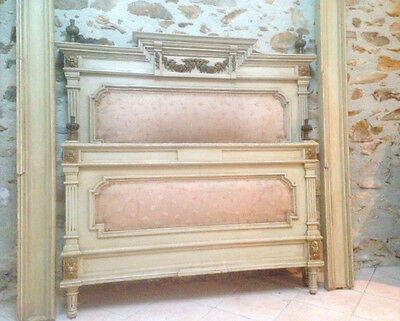 STUNNING QUALITY LOUIS XVI STYLE DOUBLE BED WITH ORIGINAL SILK UPHOLSTERY c.1900